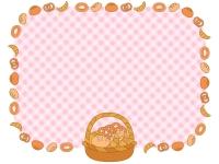 カゴ盛りのパンとピンク色チェックの囲みフレーム飾り枠イラスト