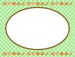 上下に並んだパンと黄緑色チェックのフレーム飾り枠イラスト