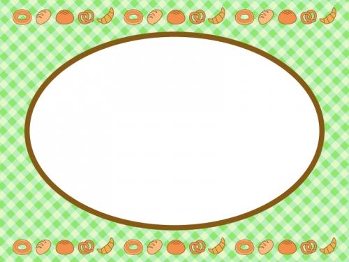 上下に並んだパンと黄緑色チェックのフレーム飾り枠イラスト 無料