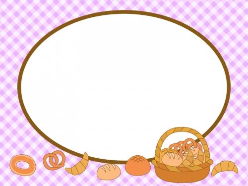 カゴ盛りのパンと紫色チェックの楕円フレーム飾り枠イラスト