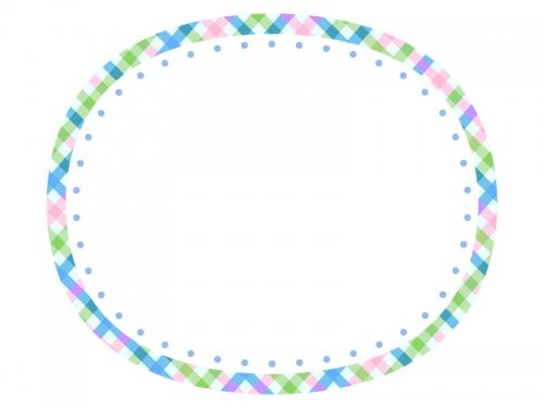 さわやかなチェックの楕円フレーム飾り枠イラスト