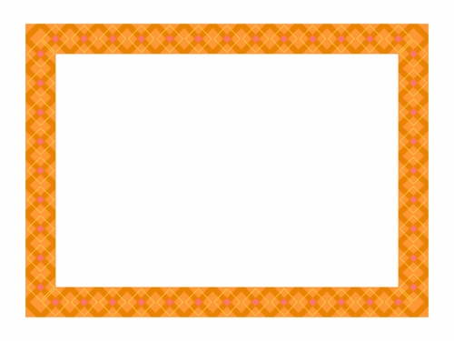 オレンジ系チェック模様のフレーム飾り枠イラスト