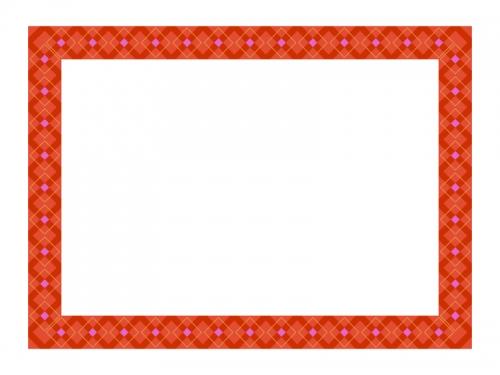 レッド系チェック模様のフレーム飾り枠イラスト