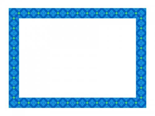 ブルー系チェック模様のフレーム飾り枠イラスト