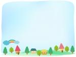 絵本風の街並みのふんわり水色フレーム飾り枠イラスト