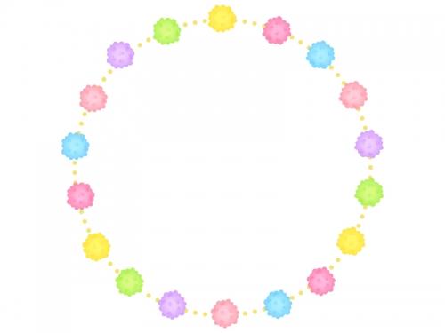 金平糖と点線の円形フレーム飾り枠イラスト