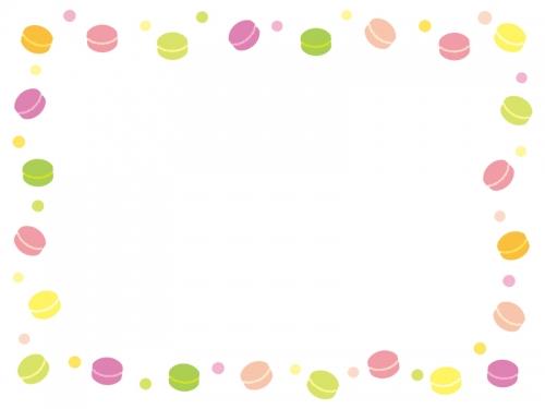 マカロンとドットの囲みフレーム飾り枠イラスト