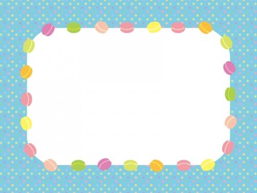 マカロンと水玉模様のフレーム飾り枠イラスト