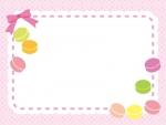 マカロンとピンクのリボンの水玉模様フレーム飾り枠イラスト
