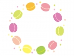 マカロンとドットの円形フレーム飾り枠イラスト