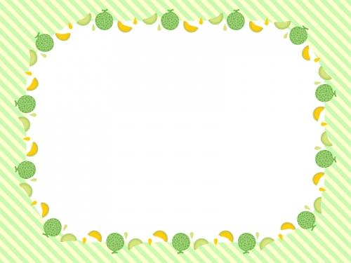 メロンの緑色ストライプのフレーム飾り枠イラスト
