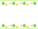 メロンの緑色チェックの上下フレーム飾り枠イラスト