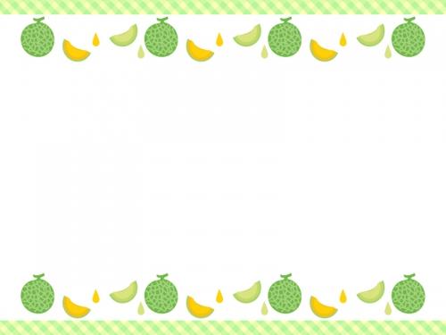 メロンの緑色チェックの上下フレーム飾り枠イラスト 無料イラスト