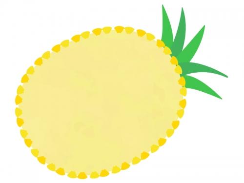 パイナップルの形の黄色フレーム飾り枠イラスト