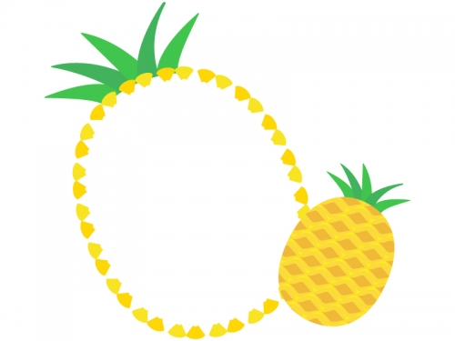 パイナップルの形のフレーム飾り枠イラスト