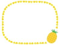 カットしたパイナップルの囲みフレーム飾り枠イラスト