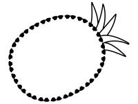 パイナップルの形の白黒フレーム飾り枠イラスト