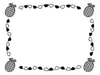 四隅のパイナップルの白黒フレーム飾り枠イラスト