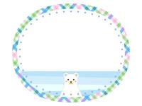 シロクマとチェック模様の楕円フレーム飾り枠イラスト
