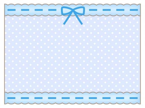 ブルーのリボンとレースの水玉模様フレーム飾り枠イラスト