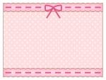 ピンクのリボンとレースの水玉模様フレーム飾り枠イラスト