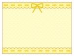 黄色いリボンとレースの水玉模様フレーム飾り枠イラスト
