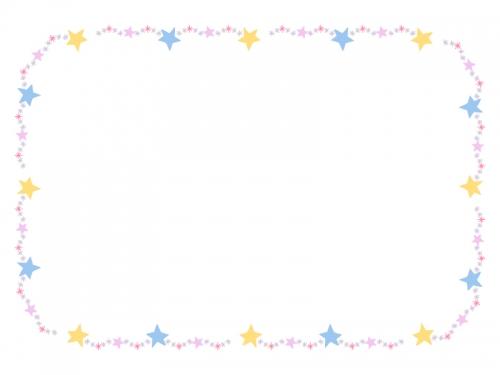 手書き風キラキラ星の囲みフレーム飾り枠イラスト