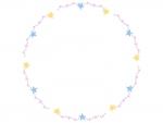 手書き風キラキラ星の円形フレーム飾り枠イラスト