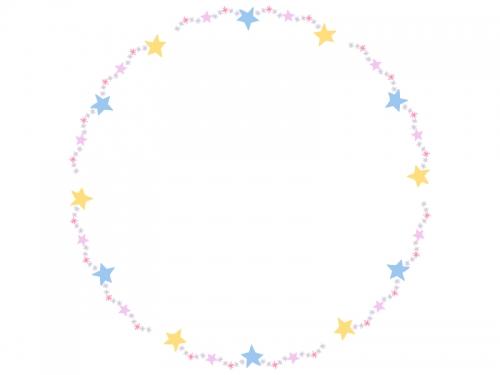 手書き風キラキラ星の円形フレーム飾り枠イラスト 無料イラスト