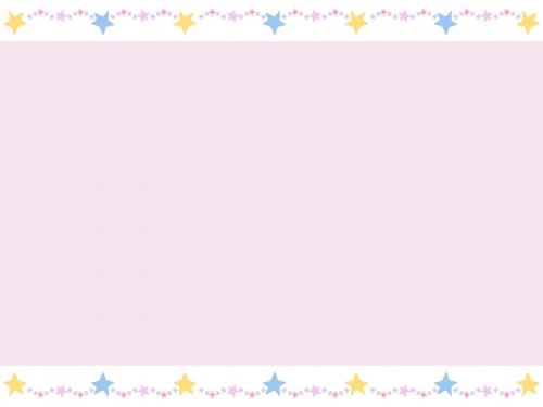 手書き風キラキラ星の上下ピンク色フレーム飾り枠イラスト