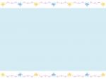 手書き風キラキラ星の上下水色フレーム飾り枠イラスト