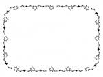 手書き風キラキラ星の囲み白黒フレーム飾り枠イラスト
