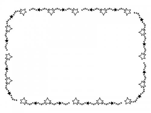 手書き風キラキラ星の囲み白黒フレーム飾り枠イラスト 無料イラスト