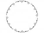 手書き風キラキラ星の円形白黒フレーム飾り枠イラスト