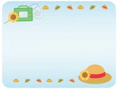 麦わら帽子と虫取りかごの紙風水色フレーム飾り枠イラスト