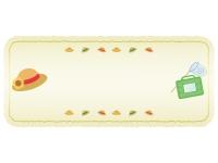 麦わら帽子と虫取りかごの紙風黄色フレーム飾り枠イラスト