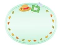麦わら帽子と虫取りかごの紙風緑色フレーム飾り枠イラスト