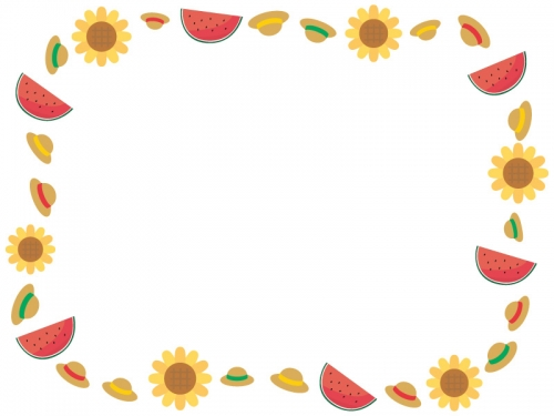 麦わら帽子とスイカとひまわりの囲みフレーム飾り枠イラスト