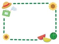 麦わら帽子とスイカとひまわりの緑色点線フレーム飾り枠イラスト