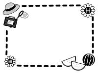 麦わら帽子とスイカとひまわりの白黒点線フレーム飾り枠イラスト