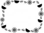 麦わら帽子とスイカとひまわりの囲み白黒フレーム飾り枠イラスト