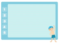 プールと男の子のフレーム飾り枠イラスト