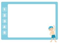プールと男の子のフレーム飾り枠イラスト02