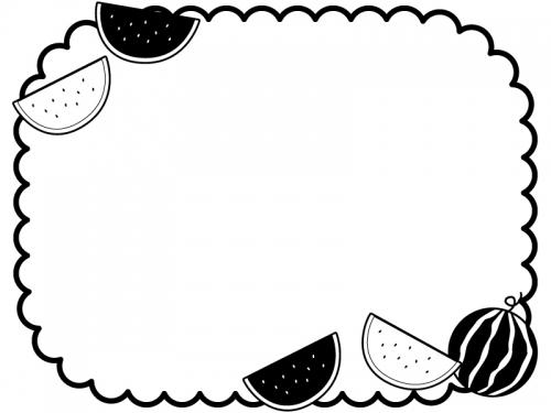 スイカのもこもこ白黒フレーム飾り枠イラスト