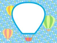 気球と水色水玉模様のフレーム飾り枠イラスト