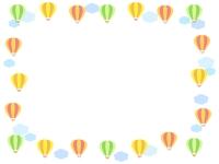 気球と雲の囲みフレーム飾り枠イラスト