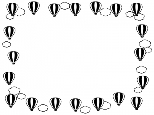 気球と雲の囲み白黒フレーム飾り枠イラスト