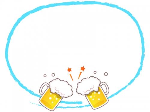 乾杯しているビールの水色筆線のフレーム飾り枠イラスト