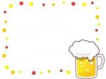 ビールと黄色と赤のドットのフレーム飾り枠イラスト