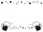 ビールと泡の上下白黒フレーム飾り枠イラスト